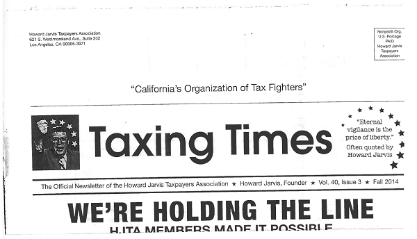 Scan of top half of front page of Howard Jarvis Taxpayers Association (HJTA) newsletter (Vol. 40, Issue 3, Fall 2014).