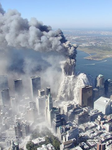 Aerial photo of the World Trade Center collapsing after the 9-11-2001 Islamic Terrorist Attack in New York City: Israel suffered the equivalent of twenty-three September 11, 2001 World Trade Center Arab Islamic terrorist attacks in the 4.8 year period from September 27, 2000 to July 23, 2005, in terms of Arab Islamic terrorism deaths in Israel scaled up from Israel's Jewish population to the U.S. population. Photo source unknown.